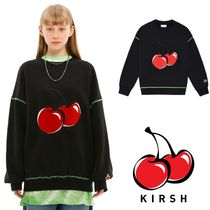 ★KIRSH★ BIG CHERRY NEON STITCH SWEATSHIRT JS /BLACK