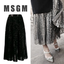 【MSGM】 FW19 PLEATED SKIRT WITH SEQUINS ミディ丈 スカート