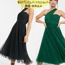国内発送ASOS DESIGN one shoulder tulle wired hem midi dress