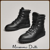 MassimoDutti♪BLACK APRES-SKI QUILTED FLAT ANKLE BOOTS