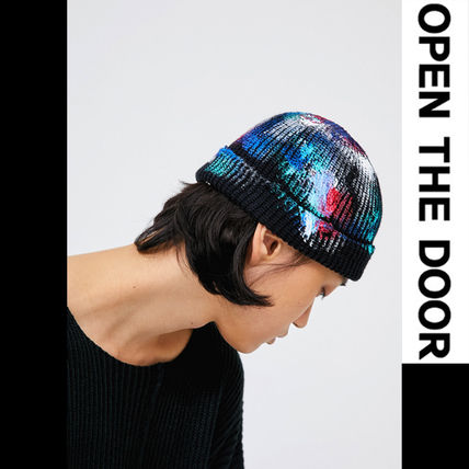 OPEN THE DOOR ニットキャップ・ビーニー ●OPEN THE DOOR●韓国FASHION●PAINTING DAMAGE SHORT BEANIE