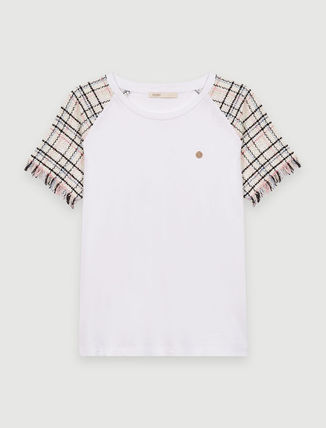 maje★T-SHIRT A MANCHES COURTES FACON TWEED