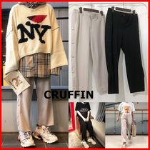 ★CRUFFIN★Side Snap Button Crop Wide Pants☆大人気・男女OK!