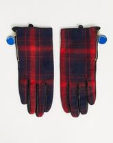 House of Holland real leather tartan gloves