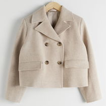"""& Other Stories""Cropped Double Breasted Wool Blend Jacket"