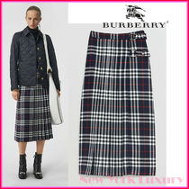 BURBERRY★素敵!BROYE NAVY CHECK TARTAN KILT PLEATED SKIRT