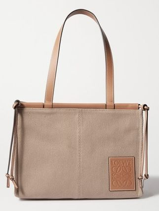 ★LOEWE★CUSHION SMALL LEATHER-TRIMMED CANVAS TOTE