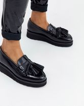 Grenson(グレンソン) シューズ・サンダルその他 Grenson Clara flatform loafer in black leather