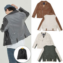★ROMANTIC CROWN★韓国 TONE ON TONE LEATHER RIDER JACKET 3色
