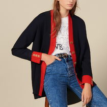 """""""sandro"""" TWO-TONE CARDI-COAT WITH LAYERED EFFECT NAVY/RED"""