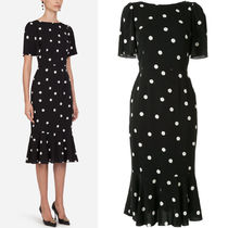 DG2233 POLKA DOT PRINT CHARMEUSE LONGUETTE DRESS