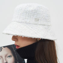 BE BORN OF 韓国アイドル着用 Tweed Bucket Hat (White)
