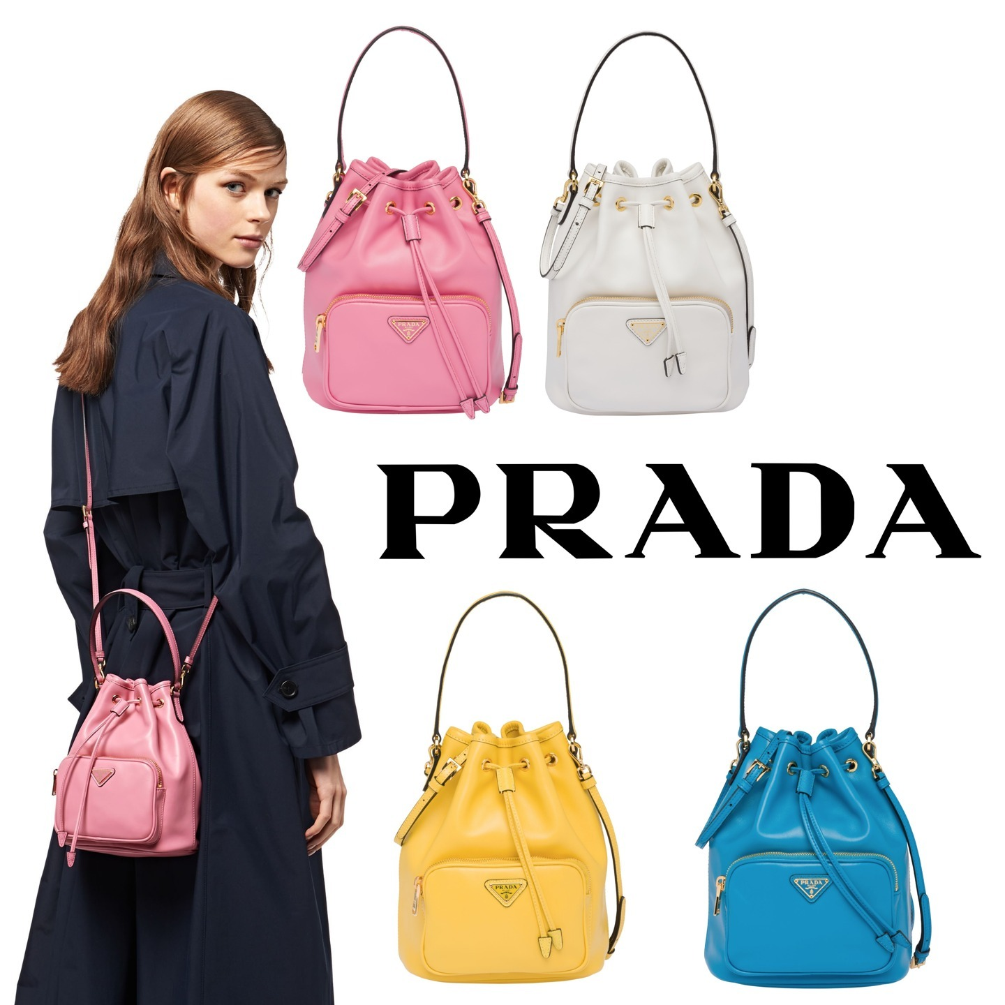 Shop Prada Casual Style Plain Leather Purses Crossbody Logo Bucket Bags By Flamenco Buyma