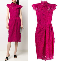 DG2245 LACE MIDI DRESS WITH BOW