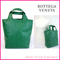 BOTTEGA VENETA★素敵!Green Leather Tote Bag Woven Detail