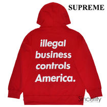 SUPREME ILLEGAL BUSINESS HOODED SWEATSHIRT / RED / LARGE