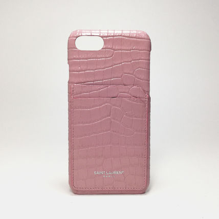 Saint Laurent スマホケース・テックアクセサリー IPHONE 8 CASE IN STAMPED CROCODILE SHINY LEATHER IN PINK