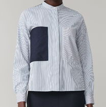 """COS"" GRANDAD SHIRT WITH COLOUR-BLOCKING WHITE/NAVY"