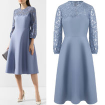 V1817 CREPE COUTURE & HEAVY LACE DRESS