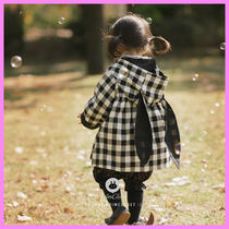 【ArimCloset】black ivory check cotton bunny baby jacket