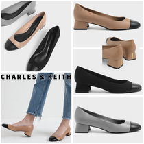 【Charles&Keith】メタリックアクセントバイカラーパンプス/送込
