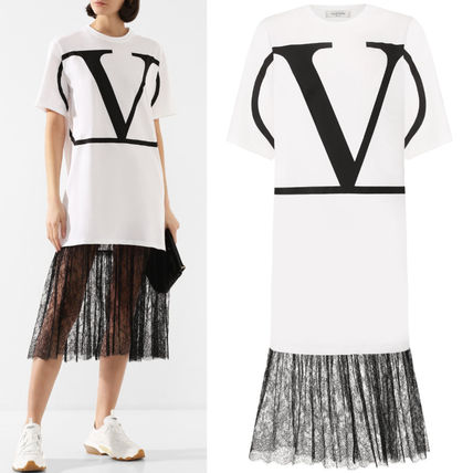 VALENTINO ワンピース V1833 VLOGO T-SHIRT DRESS WITH LACE TRIM