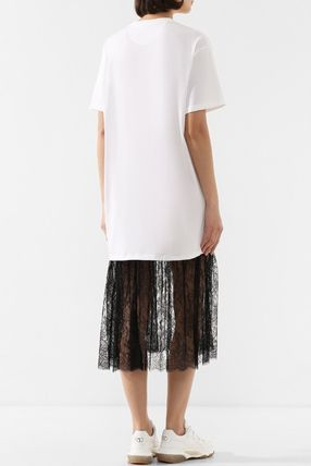 VALENTINO ワンピース V1833 VLOGO T-SHIRT DRESS WITH LACE TRIM(3)
