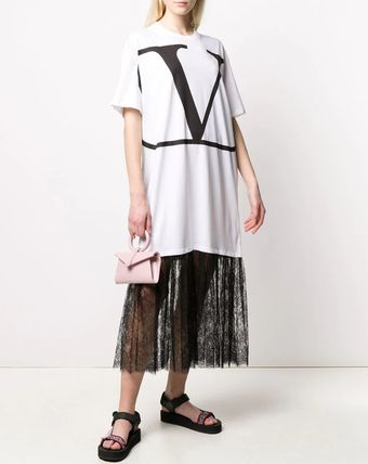 VALENTINO ワンピース V1833 VLOGO T-SHIRT DRESS WITH LACE TRIM(4)