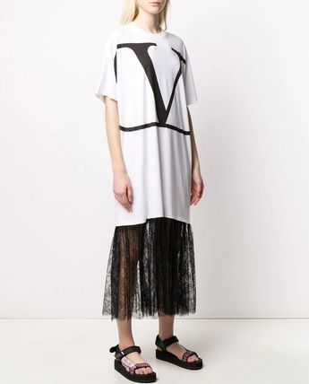 VALENTINO ワンピース V1833 VLOGO T-SHIRT DRESS WITH LACE TRIM(5)