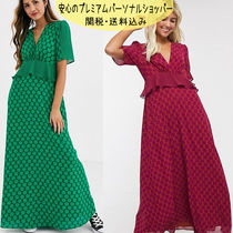国内発送ASOS/Twisted Wunder frill waist detail maxi dress