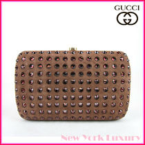 GUCCI★素敵!Broadway Suede Evening Clutch Bag wCrystal Brown