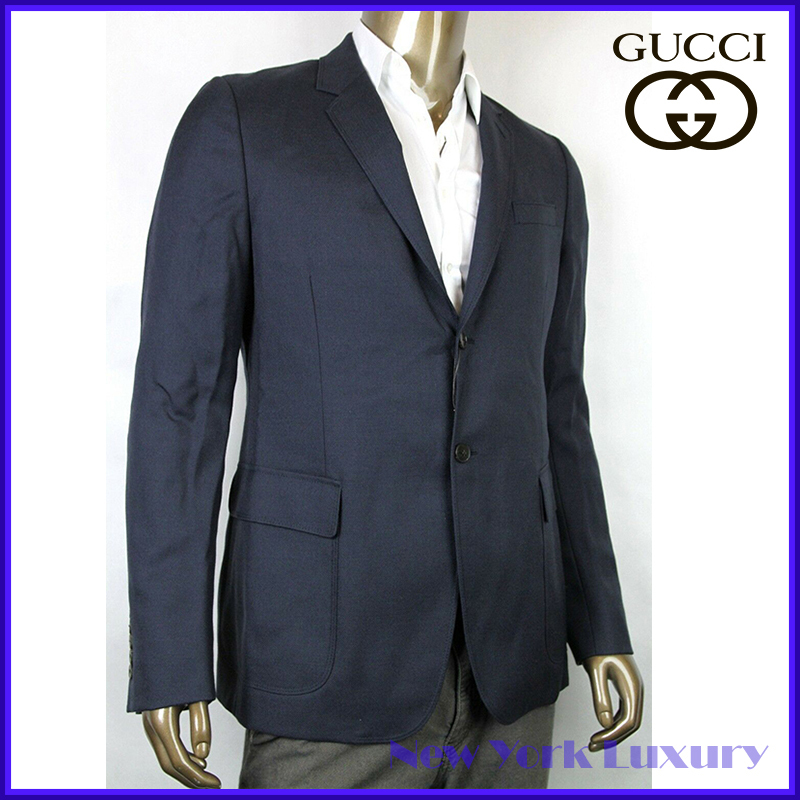 GUCCI★素敵!Wool Mohair Blazer Jacket Quilted Lining Navy (GUCCI/テーラードジャケット) 337682 4240