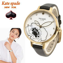 特別価格! kate spade metro deco floral black leather 腕時計
