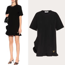 V1865 JERSEY CREPE TUNIC DRESS WITH GOLD V DETAIL