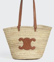 CELINE MEDIUM TRIOMPHE BASKET IN RAFFIA AND CALFSKIN