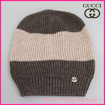 GUCCI★素敵!Wool Beanie Hat w/Interclocking G Brown/Beige
