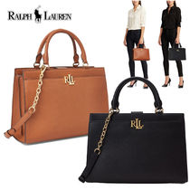 特別価格! Ralph Lauren 人気高 Pebbled Leather Laine Satchel