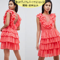 国内発送ASOS/Y.A.S Ruffle Lace Up Mini Dress