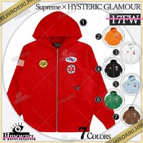 17FW /Supreme × HYSTERIC GLAMOUR Patches Zip Up Sweatshirt