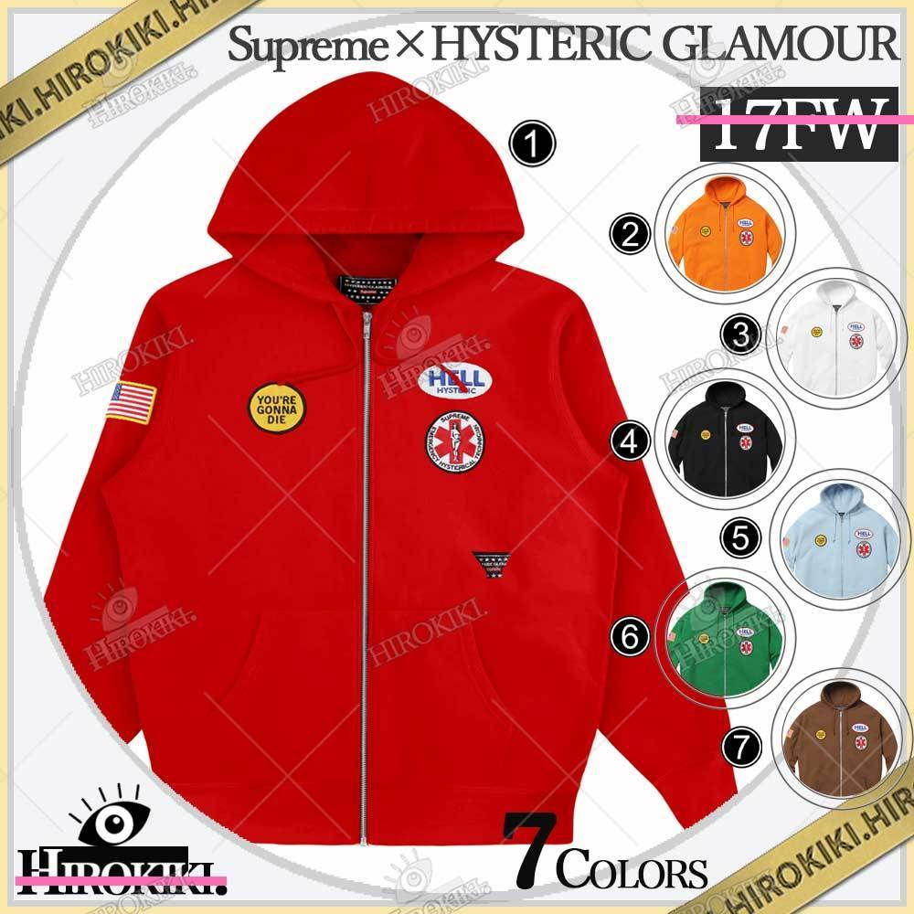 17FW /Supreme × HYSTERIC GLAMOUR Patches Zip Up Sweatshirt (Supreme/パーカー・フーディ) 51241805
