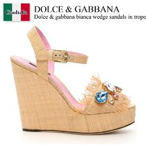 Dolce gabbana bianca wedge sandals in tropea straw