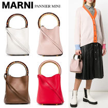MARNI PANNIER BUCKET BAG IN CALF LEATHER WITH DESIGN HANDLE