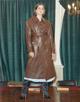 [ INSTANTFUNK ] Leather Trench Coat (Brown)