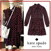 kate spade☆heartbeat tie neck dress ハート ワンピース☆送込