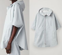 """""""COS""""  HOODED PONCHO WITH CURVED HEM LIGHTGRAY"""