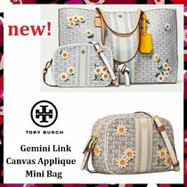 新作 セール Tory Burch Gemini Link Canvas Applique Mini Bag