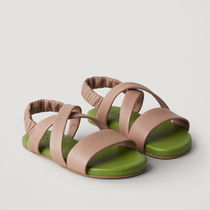 "COS(コス) キッズサンダル ""COS KIDS"" LEATHER CROSSOVER-STRAP SANDALS GREEN/BROWN"
