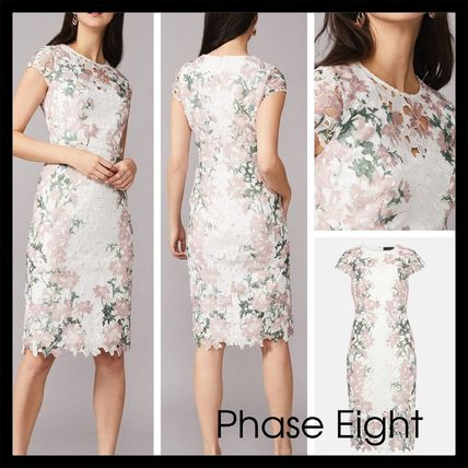 【Phase Eight】Kyra Lace Fitted Dress 花柄 レース ivory