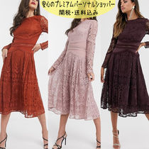国内発送ASOS DESIGN long sleeve prom dress in lace