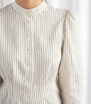 """""""& Other Stories"""" Glitter Striped Button Up Blouse OffWhit"""